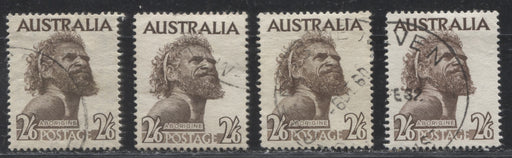 Australia #248, 303 (SG#253-253ba) 2/6d Sepia Brown Aborigine, 1952-1965, VF Used Examples of All Listed Printings, Plus Extra Shade Variety