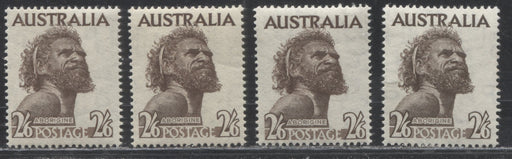 Australia #248 (SG#253) 2/6d Sepia Brown Aborigine, 1952-1965, Four Different Printings of the Watermarked Stamp, Almost All VFNH