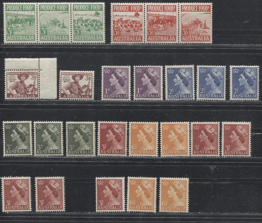 Australia #249/296 (SG#254-263a) 1953 Commemoratives & 1953-1954 Queen Elizabeth II Definitives, A Specialized Lot of 26 Mostly VFNH Stamps