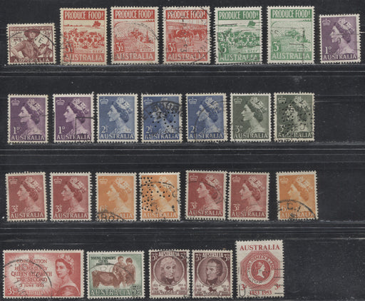 Australia #249/296 (SG#254/271) 1953 Commemoratives & 1953-1954 Queen Elizabeth II Definitives, A Specialized Lot of 26 Mostly VF Used Stamps