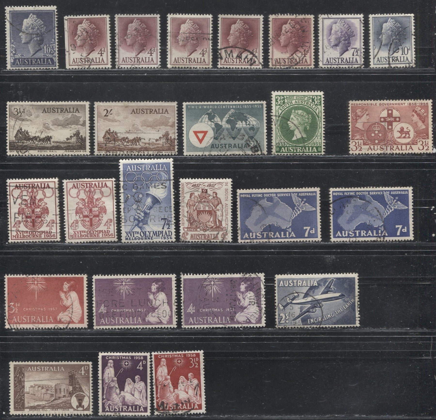 Australia #279/313, C8 (SG#282/307) 1956-1958 Commemoratives and 1954-57 Definitives, A Specialized Lot of 26 Mostly Fine Used Stamps