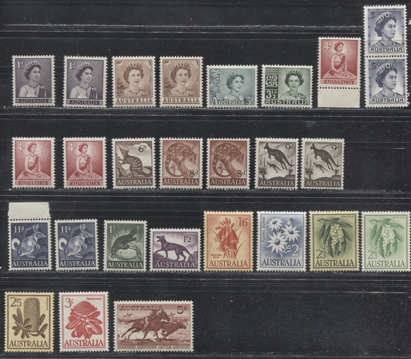 Australia #314-331 (SG#308-327) 1958-1964 Definitives, A Specialized Lot of 27 Mostly VFNH Stamps