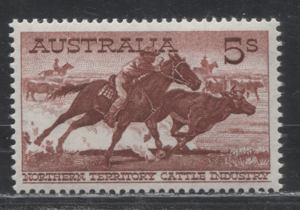 Australia #331 (SG#327a) 5/- Deep Brown Red Aboriginal Stockman, 1958-1964 Definitive Issue, a Very Fine NH Example of the Scarce White Paper