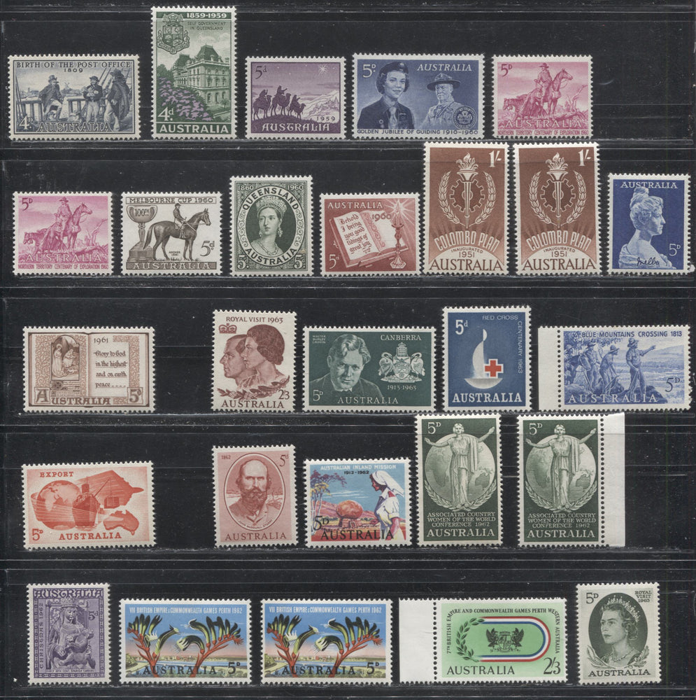 Australia #332-356 (SG#331-353) 1959-1963 Commemoratives, A Specialized Lot of 27 VFNH Stamps