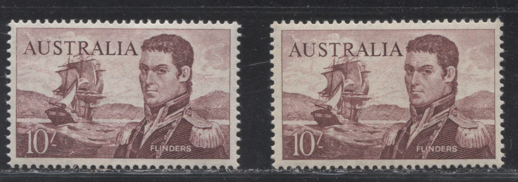 Australia #377 (SG#358-358a) 10/- Maroon Matthew Flinders, 1963-1966 Definitive Issue, VFLH and VFNH Examples of the Cream and White Papers