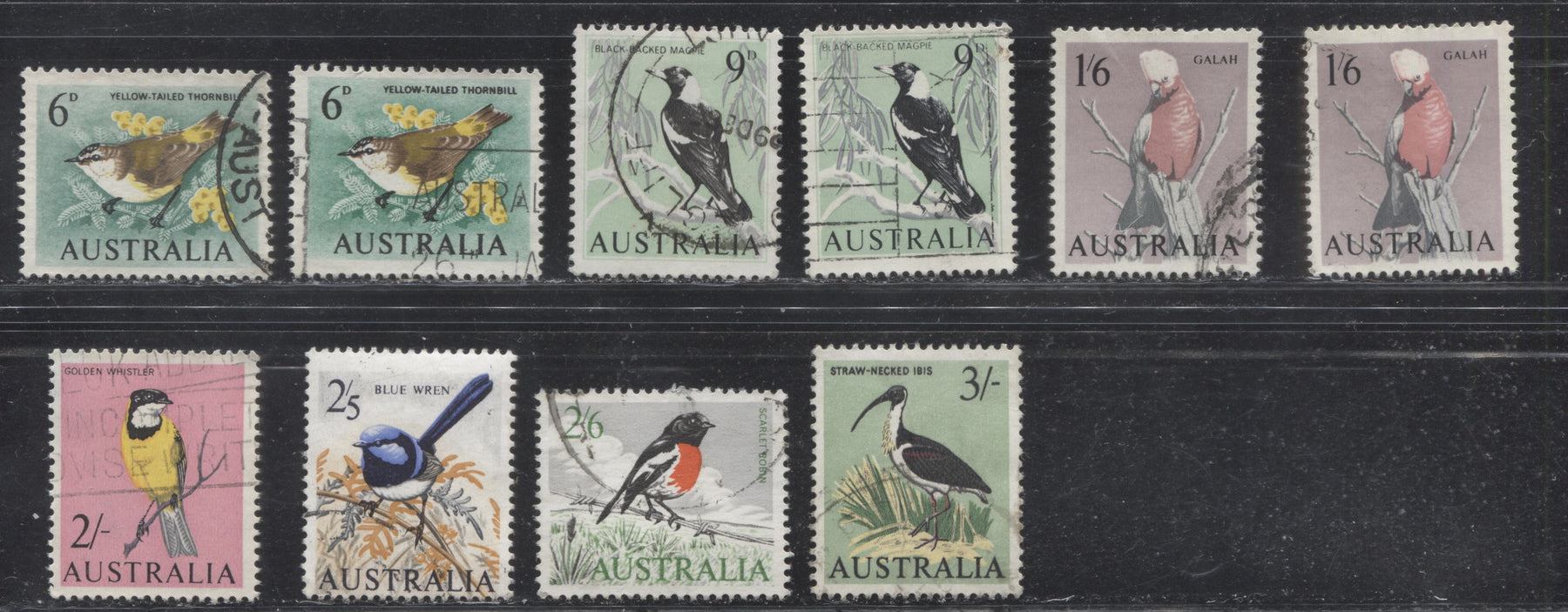 Australia #367-373 (SG#363-369) 6d to 3/- Birds 1963-1966 Definitive Issue, A Specialized Lot of 10 VF Used Stamps