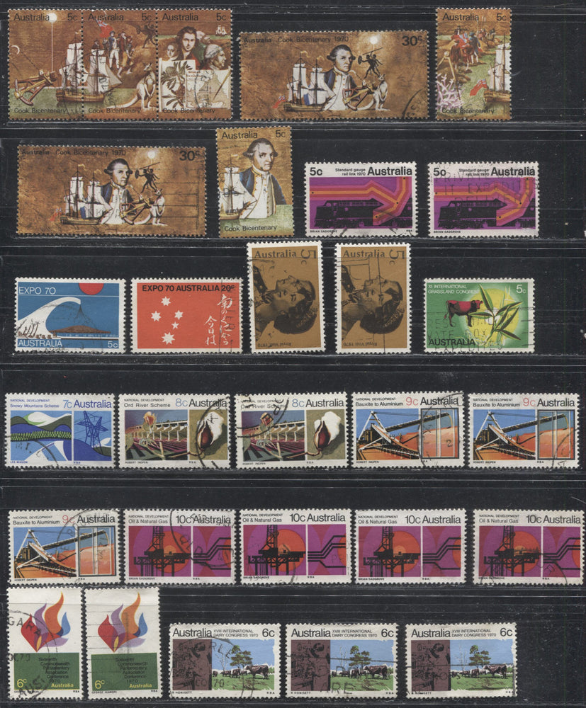 Australia #439A/492 (SG#453/482) 1970 Commemoratives and 1970-1975 Floral Coil Definitives, A Specialized Lot of 65 Fine and VF Used Stamps