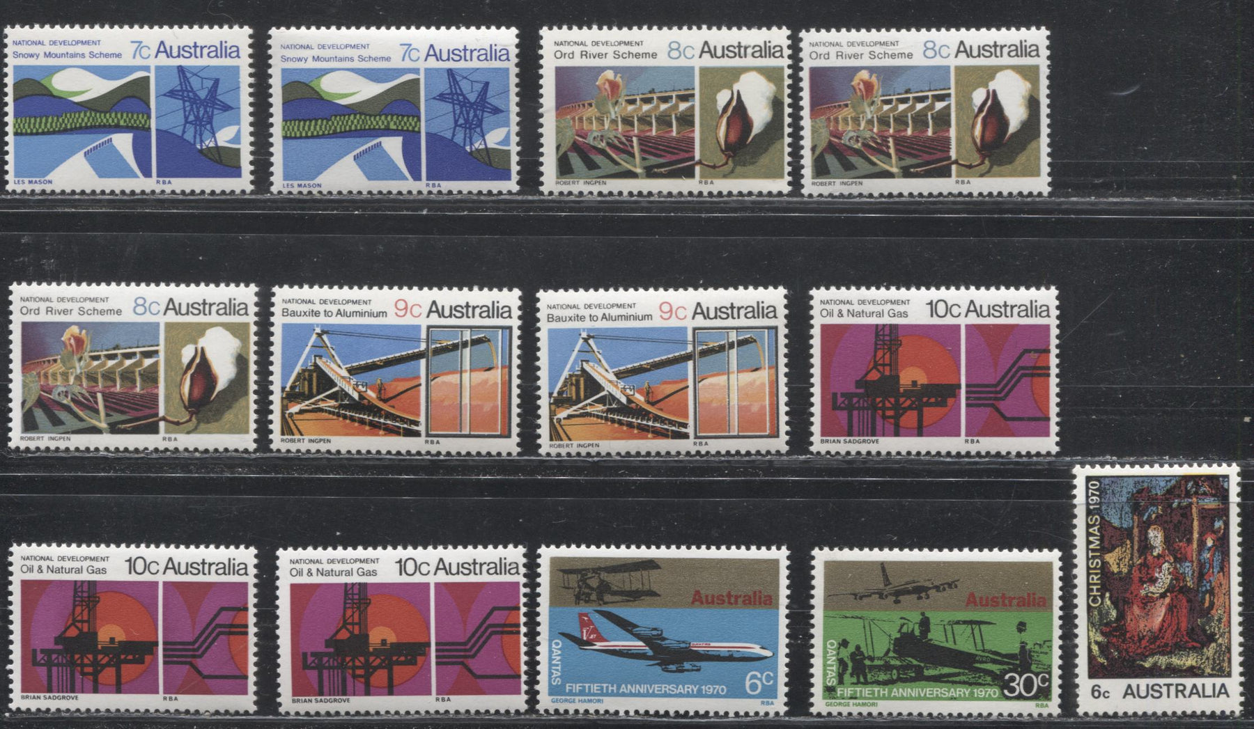 Australia #483/492 (SG#469/478) 1970 Commemoratives, A Specialized Lot of 13 VFNH Mint Stamps