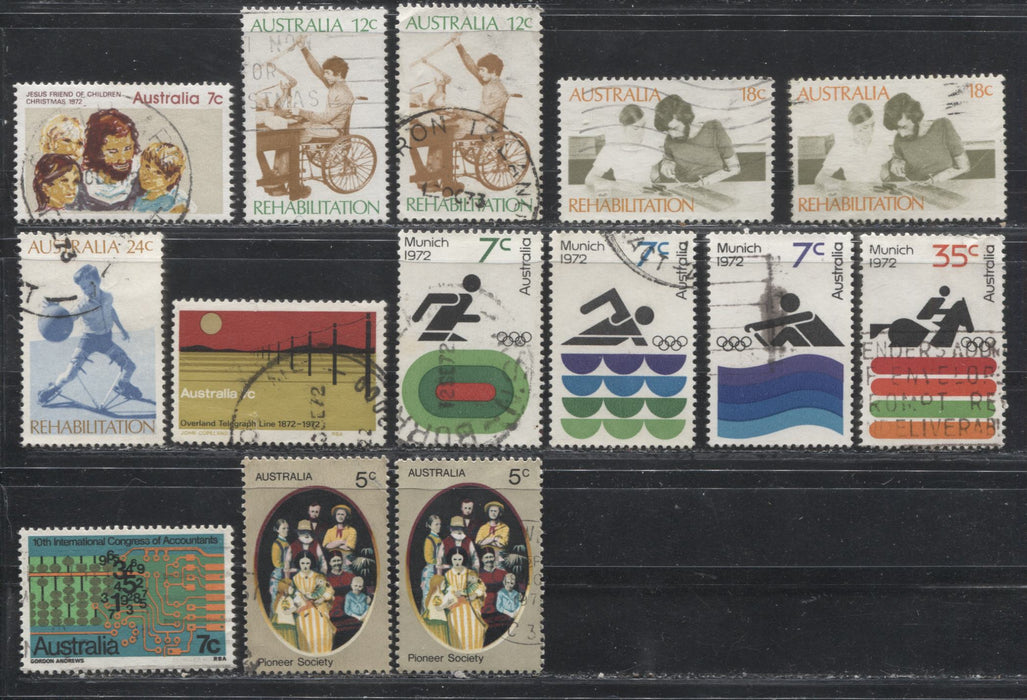 Australia #514-539 1972 Commemoratives, A Specialized Lot of 55 Fine and VF Used Stamps