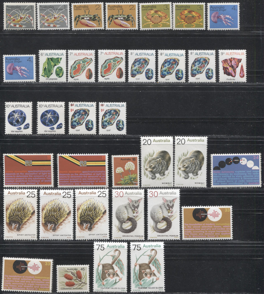Australia #554/572 1973-1981 Definitive Issue, A Specialized VFNH Lot of the Low and Mid Values