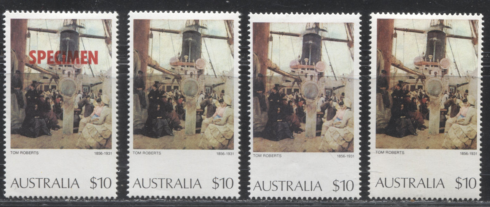 Australia #579 1973-1981 Definitive Issue, A Fine and VFNH Group of 4 of the $10 Values, Each on a Different Paper and Gum, or Printed in a Different Shade, Including a Specimen Overprint
