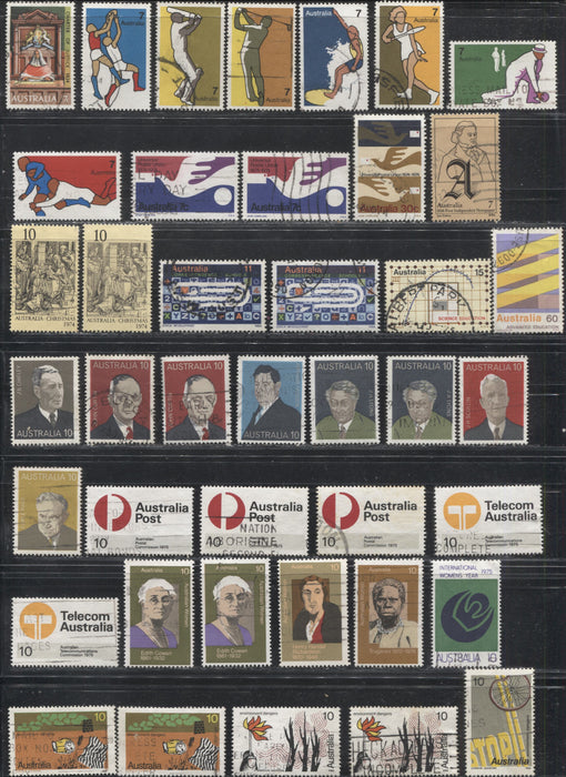 Australia #589-650 1974-1976 Commemoratives, A Nearly Complete Specialized Fine and VF Used Run of Sets, Including Most of the Perf. 15 x 14 Varieties