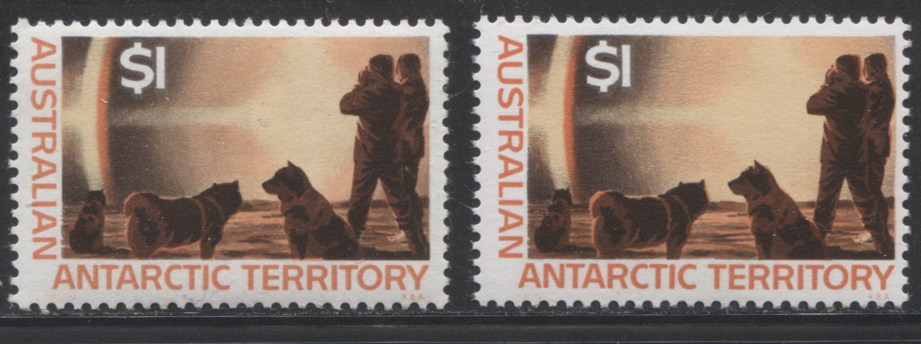 Australia Antarctic Territory #L18 $1 Paraheleon, 1966-1973 Decimal Definitive Issue, Two VFNH Examples, Each Printed on a Different Paper
