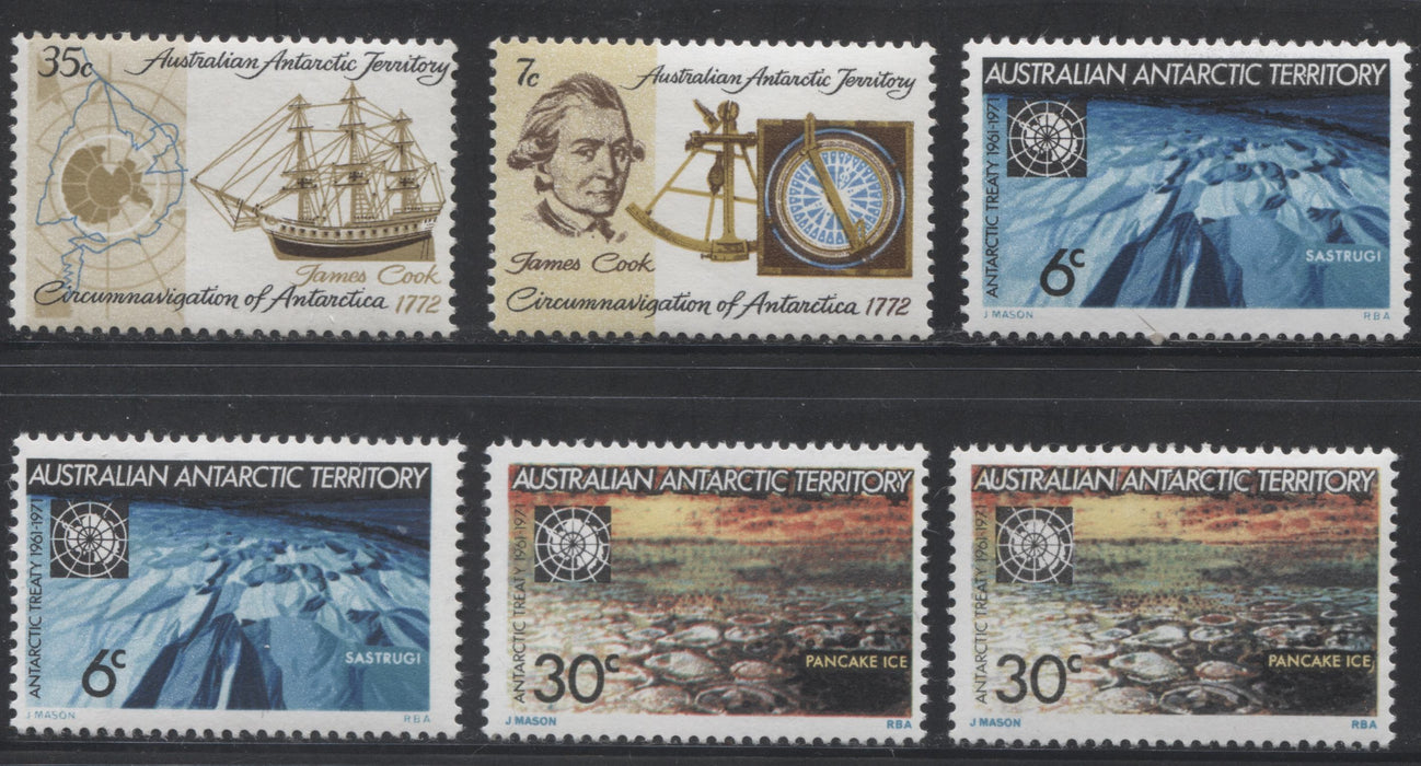 Australia Antarctic Territory #L19-L22 1971-1972 Antarctic Treaty and Cook Issues, Fine NH and VFNH Set, Plus Additional Paper Varieties