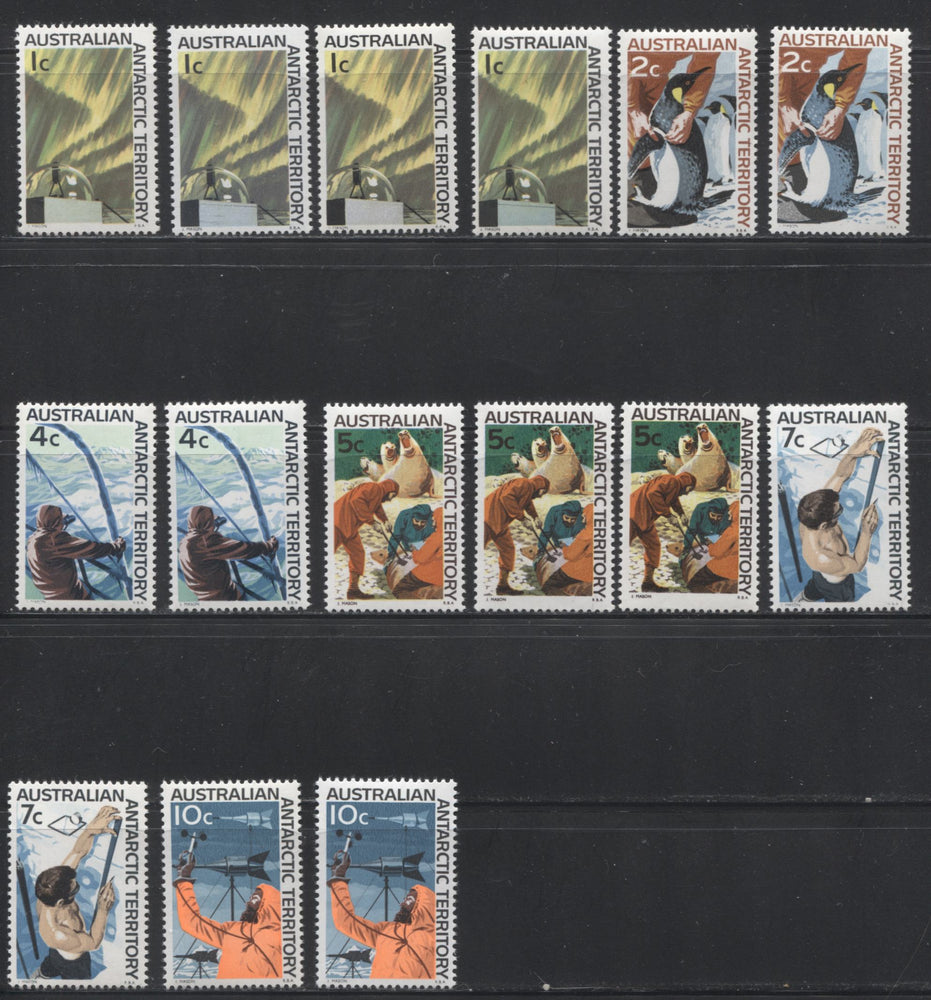 Australia Antarctic Territory #L8-L13 1c to 10c Scenes, 1966-1973 Decimal Definitive Issue, A Specialized Lot of 15 VFNH Stamps