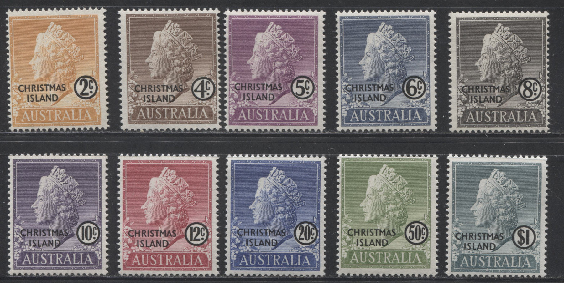 Christmas Island #1-10 2c Yellow Orange - $1 Forest Green Queen Elizabeth II, 1958 Definitive Issue, A Complete F-VF NH Set