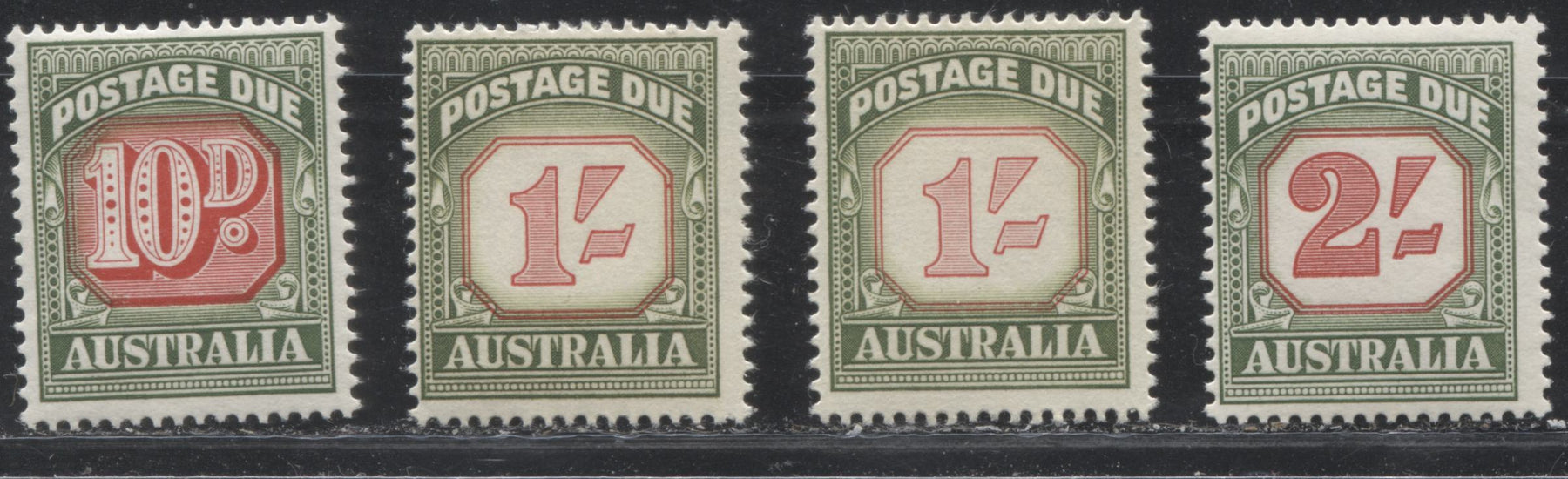 Australia #J93-J95 (SG#D139-D141) 10d - 2/- Green & Carmine Red 1958-1960 Redrawn Postage Dues, No Watermark, Fine NH Examples Showing a Range of Shades