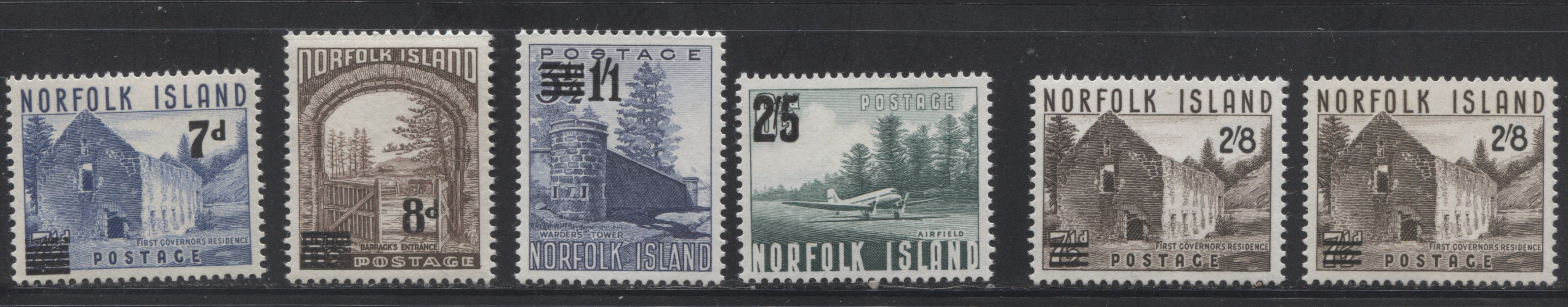 Norfolk Island #21-22, 26-28 7d on 7.5d - 2/8d on 7.5d, 1958-1960 Surcharged Pictorial Definitive Issue, a VFNH Mint Set