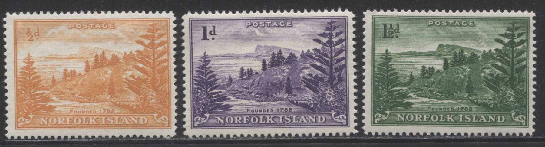 Norfolk Island #1-3 (SG1a-3a) 1/2d Orange - 1.5d Green, 1947-1959 Ball Bay Definitive Issue, F-VF NH Mint Examples of the White Paper Printings