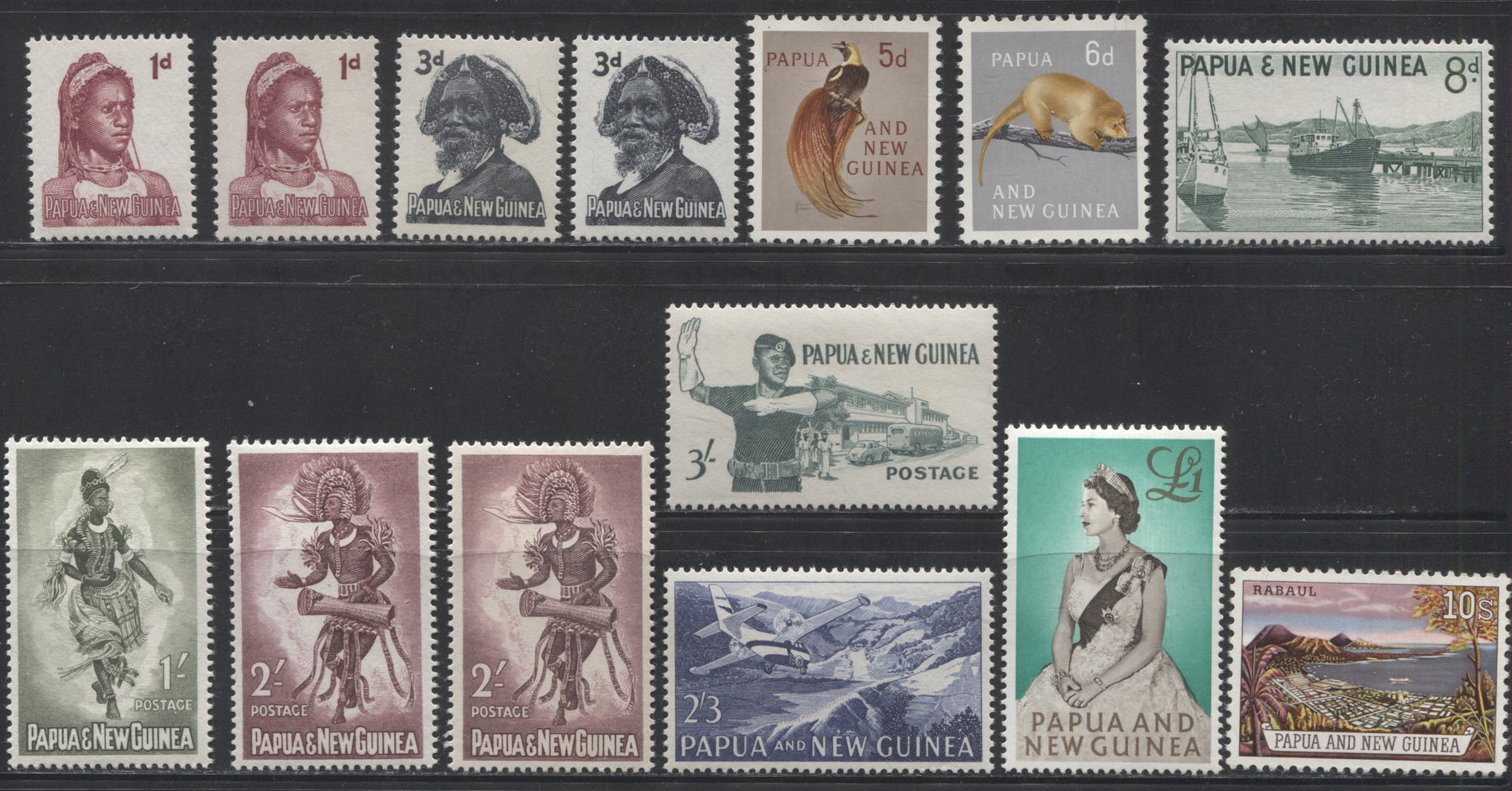 Papua New Guinea #153-163 1d Lake - 1 Pound Multicoloured, 1961-1963 Pictorial Definitive Issue, a Complete VFNH Set Including Extra Shade Varieties