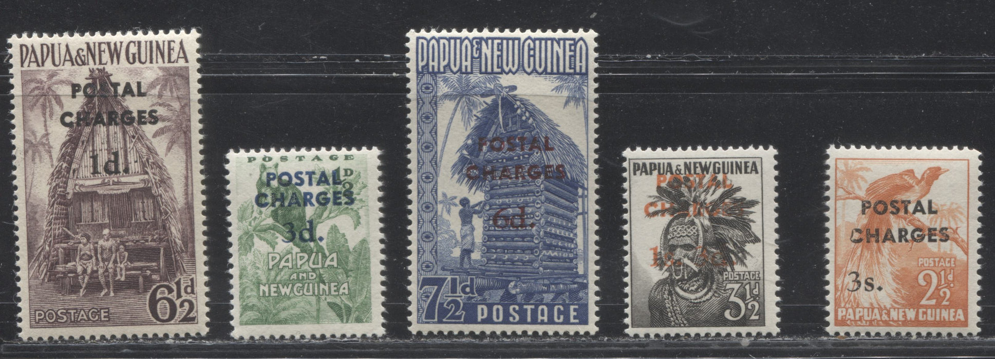 Papua New Guinea #J1-J5 1960 Postage Due Overprints on 1952-58 Definitives, a Mostly VFNH Complete Set on Cream Paper