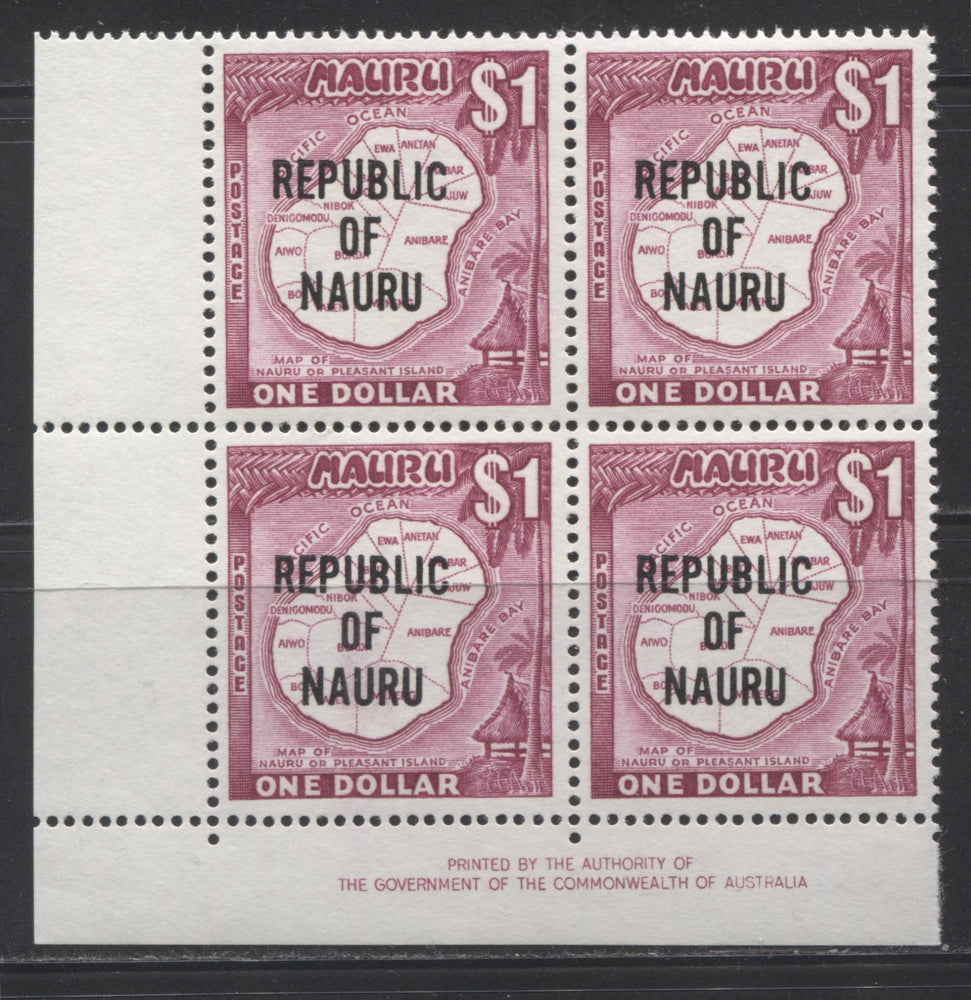 Nauru #85 $1 Magenta Map of Nauru, 1968 Overprinted Decimal Definitive Issue, a VF NH Lower Left Inscription Block of 4