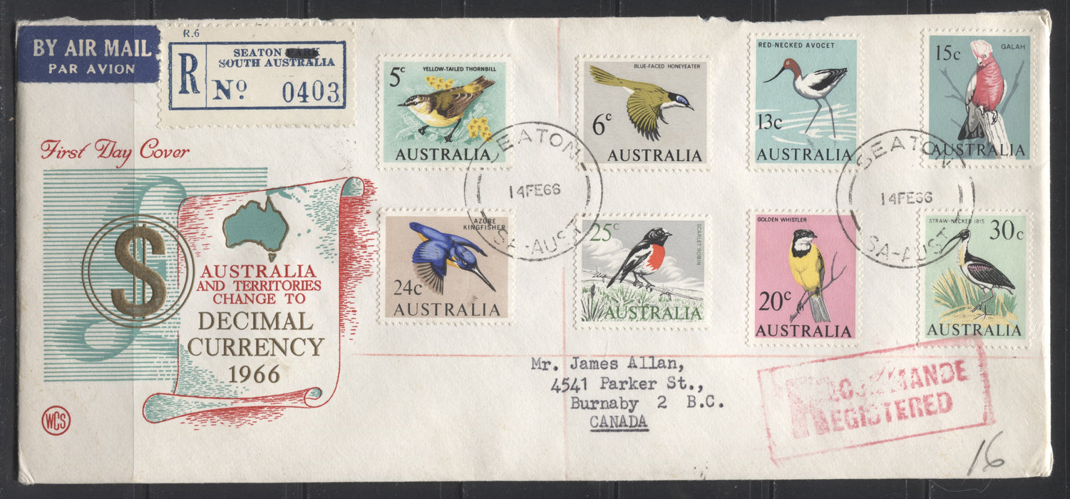 Australia SG#382/404 1966-1973 Decimal Definitive Issue, Set of 4 WCS First Day Covers Franked With the Short Set to the $1, Sent to Canada