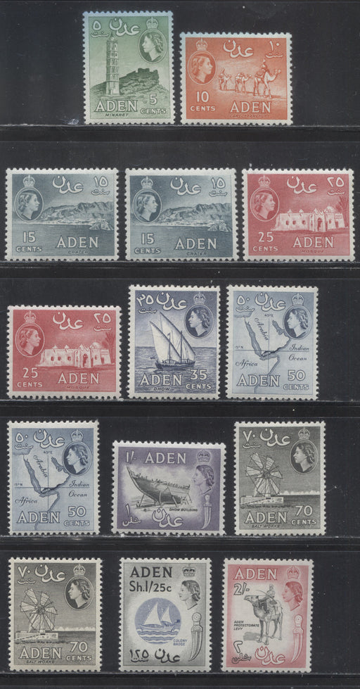 Aden SG#77-86, 1964-1965 De La Rue Pictorial Definitive Issue With Block CA Watermark, a Complete Mostly VF and all NH Set, Including Listed Shades