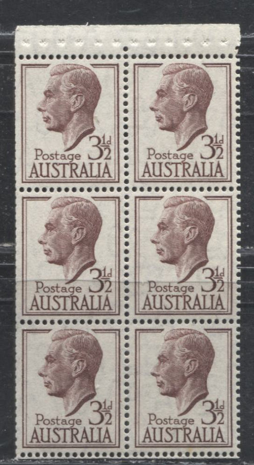 Australia #247var 3.5d Brown, 1950-1952 Definitive Issue, a VFNH Booklet Pane of 6