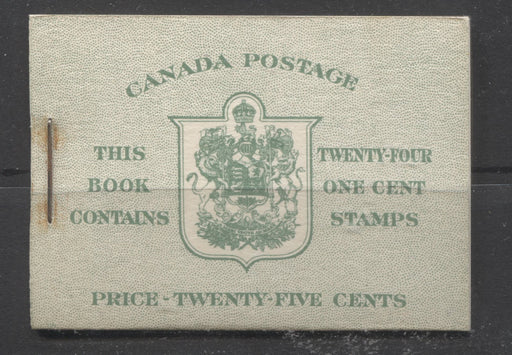 Canada #BK32d 1942-1949 War Issue, Complete 25¢ English Booklet, Vertical Wove Paper, Type II Covers, Harris Front Cover IIb, Back Cover Type Caiii