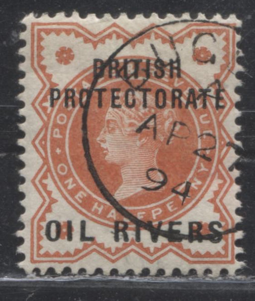 Niger Coast Protectorate SG#1 1/2d Vermilion Queen Victoria, A Very Fine Used Example of the Type 1 Oil Rivers Overprint, Black Buguma CDS Cancel