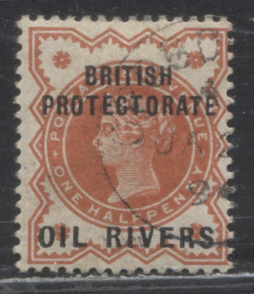 Niger Coast Protectorate SG#1 1/2d Deep Vermilion Queen Victoria, A Very Fine Used Example of the Type 1 Oil Rivers Overprint, Black Opobo River CDS Cancel