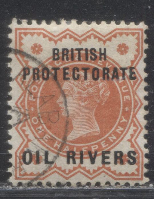 "Niger Coast Protectorate SG#1 1/2d Vermilion Queen Victoria, A Very Fine Used Example of the Type 1 Oil Rivers Overprint, With Malformed E In ""Protectorate"", From Position 17, Black Old Calabar River CDS Cancel"