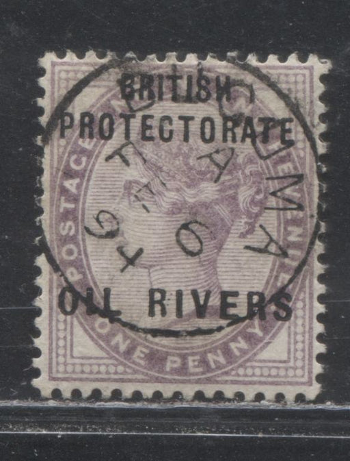 "Niger Coast Protectorate SG#2 1d Lilac Queen Victoria, A Very Fine Used Example of the Type 4 Oil Rivers Overprint, Showing Three Dots Between ""RI"" of ""Rivers"" and Slating T, From Position 40, SON Buguma Febuary 6, 1894 CDS"