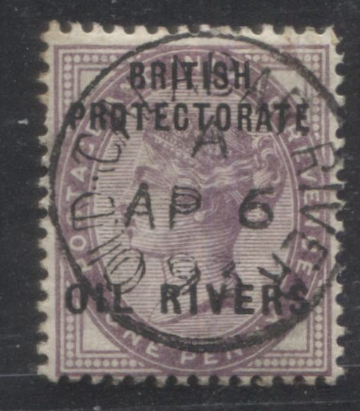 Niger Coast Protectorate SG#2 1d Deep Lilac Queen Victoria, A Fine Used Example of the Type 6 Oil Rivers Overprint, SON April 6, 1893 Old Calabar River CDS