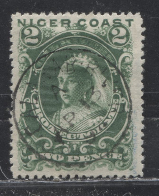 "Niger Coast Protectorate SG#47d 2d Green Queen Victoria, 1893 Obliterated ""Oil Rivers"" Issue, A Very Fine Used Example of the 3rd Printing, Perf. 14.1 x 14, April 13, 1894 Old Calabar River CDS Cancel"