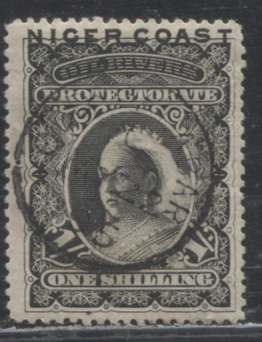 "Niger Coast Protectorate SG#50 1/- Black Queen Victoria, 1893 Obliterated ""Oil Rivers"" Issue, A Very Fine Used Example of the 1st Printing, Perf. 15, With Re-Entry at Top, May 22, 1895 Old Calabar CDS"