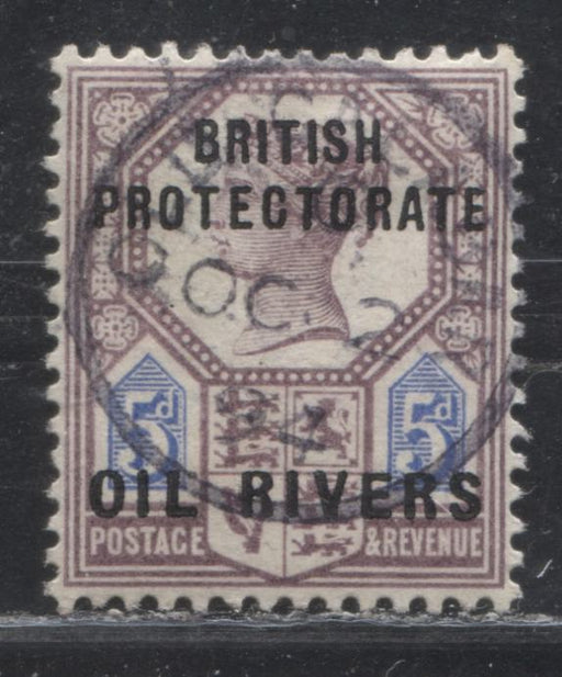 Niger Coast Protectorate SG#5 5d Purple & Ultramarine Queen Victoria, A Very Fine Used Example of the Type 4 Oil Rivers Overprint, October 2, 1894 Old Calabar CDS
