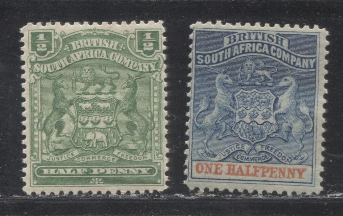 Rhodesia #1, 59, (SG#18, 75a) 1/2d 1892-1904 Arms Issues, Fine and VF Mint OG Examples of the Two Halfpenny Stamps