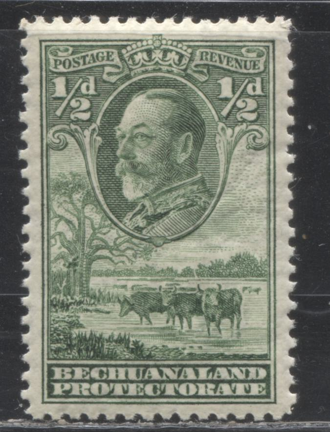 Bechuanaland Protectorate #105 (SG#99) 1/2d Deep Yellow Green King George V and Cattle, 1932 Definitive Issue, a VFNH Example