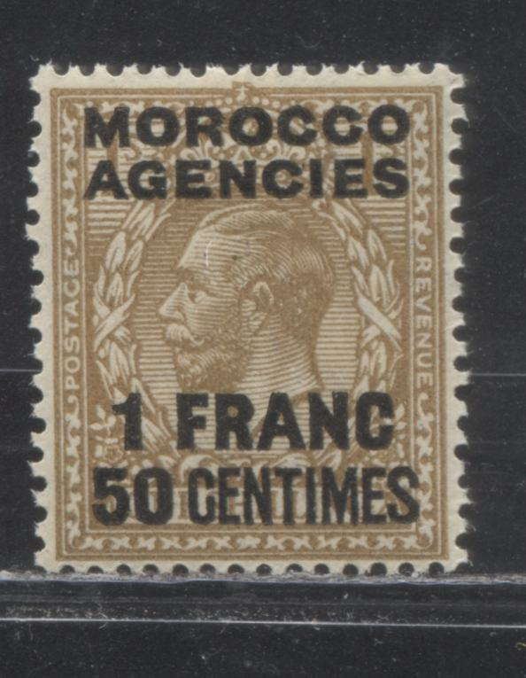 Morocco Agencies French Currency #421 (SG#210) 1Franc 50 Centimes on 1/- Bistre Brown, 1924-1934 King George V Heads, Watermarked Block Cypher, A VFNH Example