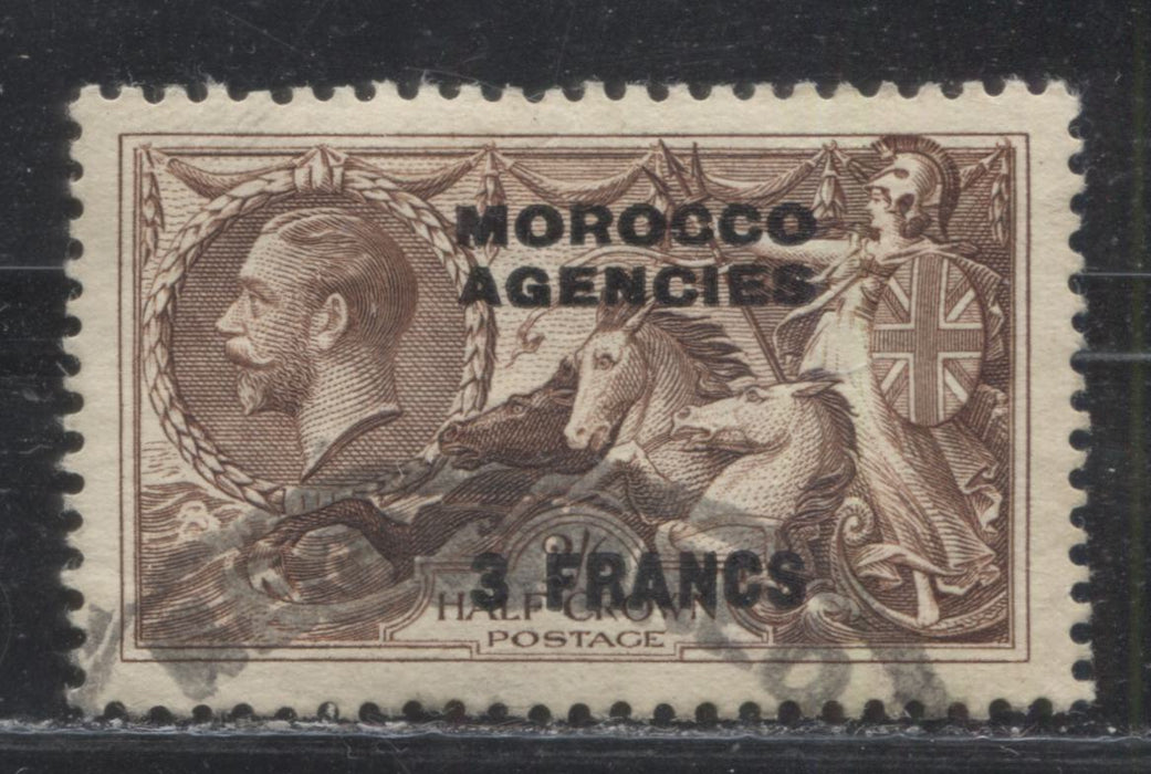 Morocco Agencies French Currency #435 (SG#225) 3 Franc on 2/6d Brown, 1934-1936 King George V Seahorse, Re-Engraved Bradbury Wilkinson Printing, Overprinted and Surcharged, a VFCDS Used Example