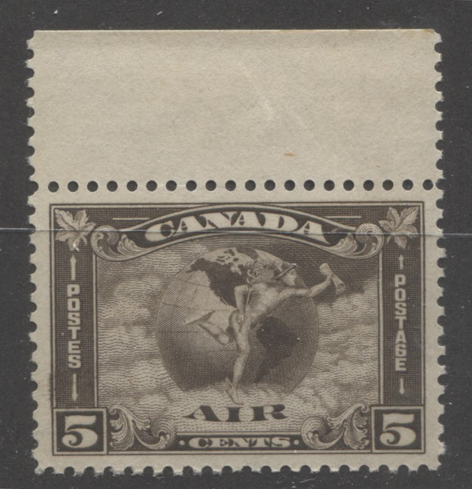 Canada #C2 (SG#310) 5c Deep Sepia 1930 Arch Issue Airmail, a Very Fine NH Top Margin Mint Example