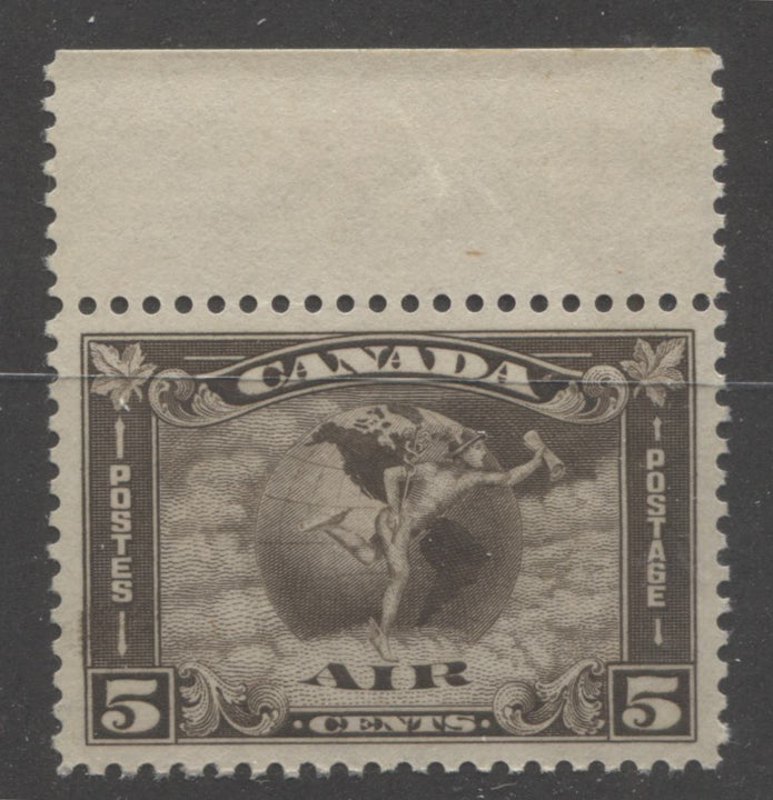 Canada #C2 5c Olive Brown, Mercury and Globe 1930-1932 Arch Issue Airmail A Very Fine CDS Used Example, Used In-Period