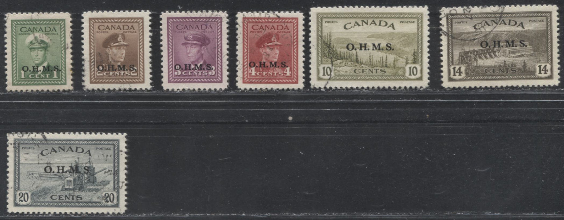 Canada #O1-O8 1c Green - 20c Slate Green, 1946-1952 Peace Issue, VF Used Examples of the OHMS Overprints