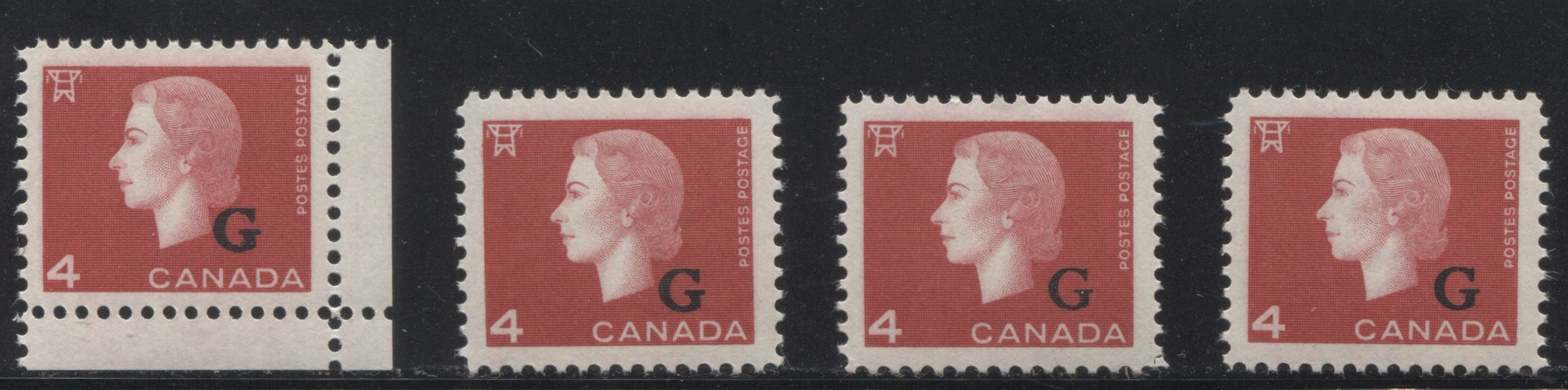 "Canada #O48 4c Bright Red Queen Elizabeth II, 1962-1967 Cameo Issue, a Group of 4 VFNH Singles With ""G"" Overprint, Each a Different Perf"