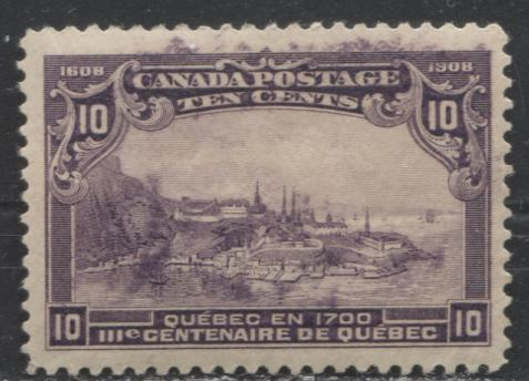 Canada #101 10c Deep Purple Quebec in 1700 1908 Quebec Tercentenary Issue A VF Appearing Mint OG Example Showing Printing Smudges