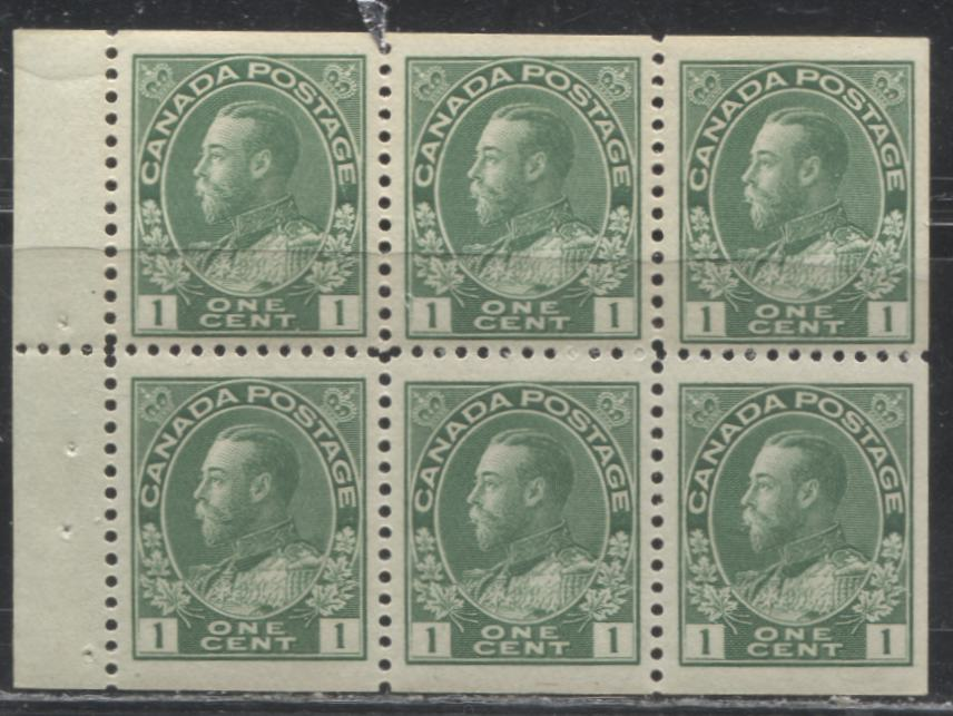 Canada #104f 1c Yellow Green King George V, 1911-1928 Admiral Issue, a Very Fine NH Booklet Pane of 6 of the 17.7 mm x 21.5 mm Wet Printing