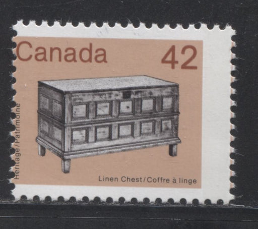 Canada #1081 42c Multicoloured Linen Chest 1982-1987 Artifacts and National Parks Issue, a VFNH Example With Significant Misperf