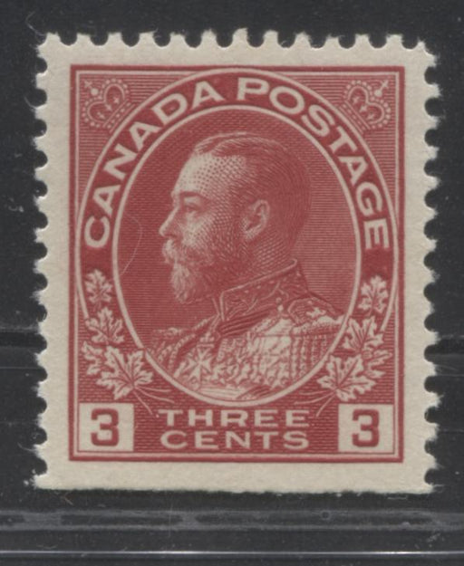 Canada #109 3c Carmine Red 1911-28 Admiral Issue, A Very Fine NH Example of the Die 1 From the Bottom of the Sheet